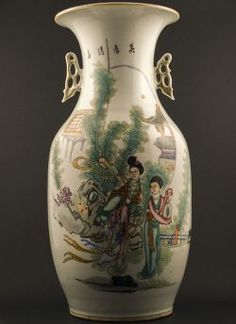 Republic - Large polychrome Baluster vase with openwork handles and decor of two ladies in a garden under red moon, calligraphy to the reverse Two Ladies, Red Moon, Japanese Porcelain, Wood Crafts, Oriental, Chinese, Bronze, Calligraphy, Vase