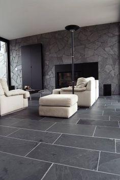 Hall tiles ideas grey limestone floor tiles for hallway flooring Black Slate Floor, Grey Slate Tile, Black Tiles, Slate Stone, Limestone Flooring, Granite Flooring, Tile Flooring, Quartz Countertops, Slate Tile Floors