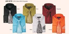 Men's High Quality Fashion Dress Shirt With Tie&Hanky French Cuff Links AH619  #Georges