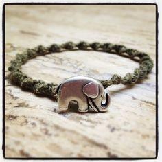 Earthy Green Swirled Hemp Bracelet - Elephant