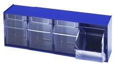 Blue Tip Out Bins - Only available at Simplastics.  Visit tipoutbins.com for more information.