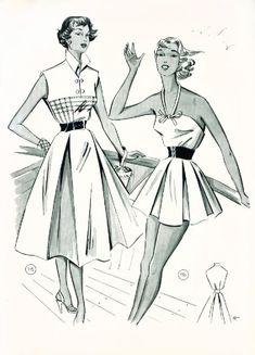 1955 Lutterloh's Mode 1950s Style, Vintage Dress Patterns, Vintage Dresses, Vintage Girls, Vintage Sewing, 1950s Fashion, Vintage Fashion, Illustration Mode, Dress Drawing