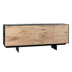 Instinct Sideboard - Go with your gut by choosing the Instinct Sideboard you'll be happy you did. This sideboard boasts white-waxed oak doors and a black lacquer frame that . Black Sideboard, Wood Sideboard, Modern Sideboard, Rustic Furniture, Modern Furniture, Hall Furniture, Classic Furniture, Furniture Ideas, Solid Oak Doors