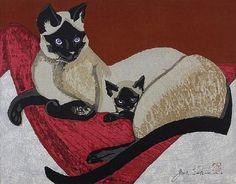 Jun'ichirō Sekino - Siamese Cats (woodblock, 1960)