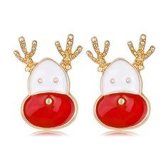 danbihuabi New Christmas Stud Earrings Statement Elk Enamel Earring Long Earrings for Women Jewelry Gifts BA022-A