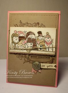 Holiday Lineup in Blushing Bride, Crumb Cake, Early Espresso and Very Vanilla. W twine, subtle outlining around characters and paper piercing at the border Stamped Christmas Cards, Xmas Cards, Holiday Cards, Handmade Christmas, Merry Christmas To You, Christmas Greetings, Christmas Ideas, Christmas Holiday, Christmas Crafts