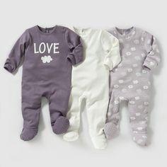 Pyjama coton interlock (lot de 3) 0 mois-3 ans LES PETITS PRIX