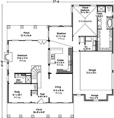 Home Plans HOMEPW27029 - 3,008 Square Feet, 4 Bedroom 4 Bathroom Country Home with 2 Garage Bays