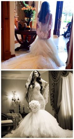 $294--2015 Newest Style Wedding Dress Lace Mermaid Tulle Bridal Gowns from 27dress.com