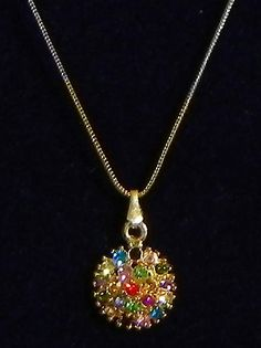Multicolor Stone Studded Pendant with Silver and Golden Chain (Stone and Metal))