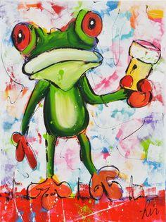 Kikker schilderij. Op je gezondheid
