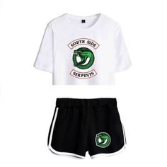 Summer Women's Sets Riverdale South Side Serpents Short Sleeve Crop Top + Shorts Sweat Suits Women Tracksuits Two Piece Outfit New Riverdale, Riverdale Merch, Riverdale Fashion, Sport Outfits, Summer Outfits, Casual Outfits, Cute Outfits, Crop Top And Shorts, Crop Tops