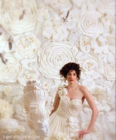 Determined to find a way to make this happen...Huge Paper Flower Wall - Hand Torn French Paper Flowers - Fanciful Design at Etsy