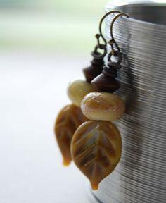 Leaf Earrings Lampwork Glass Earrings Neutral Earrings by bstrung
