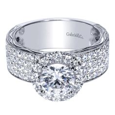 Victorian Halo Engagement Ring from Gabriel NY - love the thick band and halo!