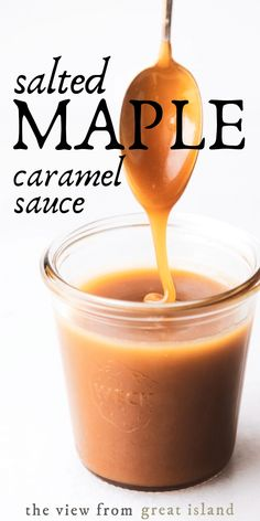 Salted Maple Caramel Sauce with only 4 ingredients and no sugar or corn syrup this healthier dessert sauce comes together in just 10 minutes! Homemade Maple Syrup, Maple Syrup Recipes, Caramel Recipes, Homemade Corn Syrup Recipe, Maple Dessert Recipes, Caramel Sauce Easy, Salted Caramel Sauce, Caramel Syrup Recipe, Sweets