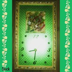 TITLE : Hues of Colors.  MEDIUM : Acrylic and silver Ink on Wood. #MeghnaCreations #creations #clock #hues #ofcolors #acrylic #ink #onwood #lacqueredup #silverflower #inkedup #shiny #green #carved #framein #goldpainted #holispirit #begins #gift #arte #loveflash #mumbai #pintrest