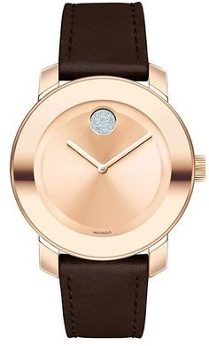 Movado 'Bold' Crystal Accent Leather Strap Watch, 36mm: Get it for $329.90 (was $550.00) #coupons #discounts