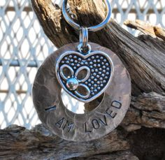 Dog Tag/Tags, Pet ID Tag, Dog Collar Tag, Personalized, Pet Charm, Keychain, Unique Hand Stamped ..... I Am Loved