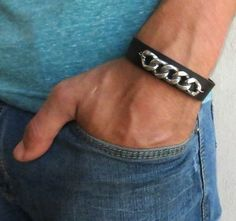 Men's Bracelet Black Leather Bracelet With Silver by Galismens