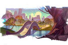 The Art Of Animation, Dominick Domingo Cartoon Background, Animation Background, Art Background, Background Patterns, Art And Illustration, Illustrations, Dark Landscape, Landscape Concept, Bg Design