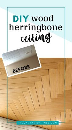 How to DIY: Wood Herringbone Pattern Basement Ceiling Idea | Can you believe this ceiling is actually a BUDGET DIY?! If you're looking for basement ceiling ideas we've got another here for you. This is a plywood ceiling and we've got the simple tutorial. Could be used to cover popcorn ceilings too! Part of our budget basement makeover. #howto #DIY #decor #ceiling #basement #basementideas #budgetdecor #frugalfamilytimes