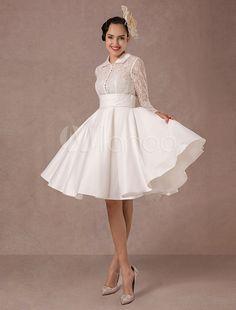Vintage Hochzeit Kleid lange Spitzen Ärmeln Satin Brautkleid kurz knielang