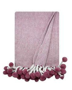 Lilac Herringbone Pom Pom Throw