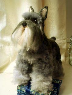 Artist Needle Felted Mini Schnauzer Dog Sculpture - Lucy