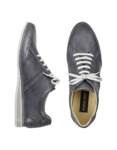 Signature Grey Leather Sneaker Shoes - Richly colored gray leather sneakers offer casual uptown extravagance with the comfort of your favorite pair of running shoes. White soles complete the urban bon ton. Signature box included. Made in Italy.