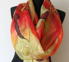 Red yellow and orange floral scarf. Painted Silk, Hand Painted, Silk Art, Floral Scarf, Beautiful Songs, Green Silk, Silk Painting, Green Backgrounds, Silk Scarves