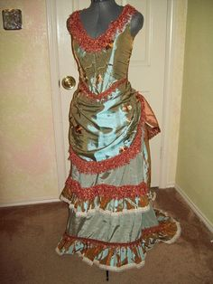 Teal and Copper Bustle gown by customecostumer on Etsy