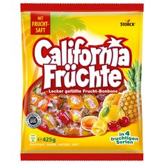 Vacation feeling from the bag. Storck California Fruits takes you on a trip to sunny California. The delicious flavors of pineapple, orange, cherry and grapefruit fulfill your vacation dreams coming t