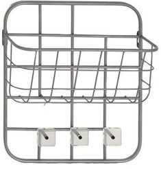DecMode Decmode Modern Silver Metal Basket Wall Rack With 3 Hooks, Gray Storage Hooks, Wall Storage, Metal Baskets, Baskets On Wall, Acrylic Tips, Clear Acrylic, Iron Wire, Magazine Holders, Wall Racks