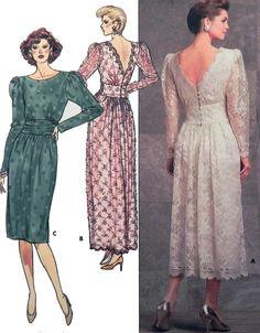 1980s Lace Dress sewing pattern Rimini  by retroactivefuture