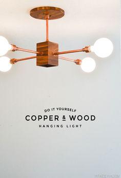 DIY Copper and Wood Hanging Light Fixture - Vintage Revivals