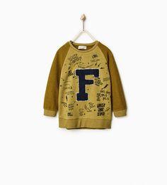 """F"" PRINT SWEATSHIRT WITH CONTRASTING SLEEVES-NEW IN-BOY | 4 - 14 years-KIDS | ZARA Hungary"