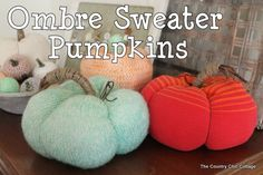 DIY Ombre Sweater Pumpkins - NO SEWING! ~ * THE COUNTRY CHIC COTTAGE (DIY, Home Decor, Crafts, Farmhouse)