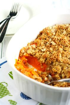 A delicious sweet potato casserole that is topped with a crunchy oat streusel and is vegan and nut free.