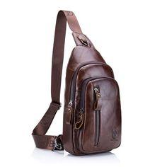 Sling Bag Charminer Leather Chest Bag Crossbody Shoulder Business Backpack  Outdoor Daypack - C6185X9MAA5 - Men s e29ce98d7fc84