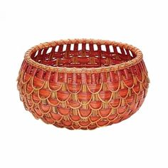 Dimond 466051 Small Fish Scale Basket In Red And Orange