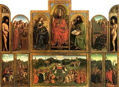 Jan van Eyck, c.1432. Ghent Altarpiece. Opened view of the polyptych. Commissioned by the wealthy merchant and financier Joost Vijdt for his and his wife's private chapel, it was begun by Hubert van Eyck, who died in 1426, and completed by his younger brother Jan van Eyck. The altarpiece shows a transition in art from the Classical tradition to an exacting observation of nature.    The altarpiece consists of a total of 24 compartmented scenes, which make up two views, open and closed,