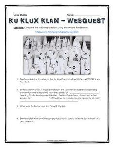 Civil Rights Movement - Webquest with Teachers Key ...