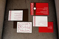 #red and #white wedding invitations; 100% recycled paper.