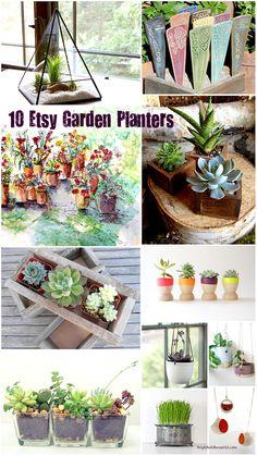 10 Etsy Garden Planters. #LauraTrevey #BrightBoldBeautiful