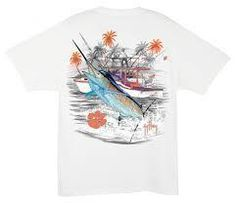 We took one of our all time best selling Guy Havey graphics and worked in Clemson pride to the styling! Check out the Collegiate Boat tee from Guy Harvey. These shirts are offered in your favorite school colors and unique detailing to make the Marlin pop from the tee.  Full Back 14 screen print design for vivid colors Guy Harvey signature on left front chest. No front pocket. Premium quality 100% cotton blank. Tagless neck for comfort.