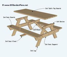 Picnic table DIY plans tables diy Garden Table Plans + Ideas for Backyard Eating Build A Picnic Table, Wooden Picnic Tables, Folding Picnic Table, Kids Picnic Table Plans, Outdoor Picnic Tables, Diy Garden Table, Diy Table, Table Bench, Table Lamp