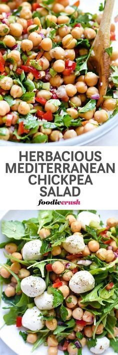 Chickpea Salad Recipe | Garbanzo Bean Salad Recipe | Mediterranean Salad Recipe | Mediterranean Diet Recipe | This easy Mediterranean garbanzo bean salad is infused with flavor thanks to a heaping helping of fresh herbs with a garlicky lemon dressing that ups the crunch from red bell pepper, celery and red onion for a simple side dish or topping for greens. | foodiecrush.com