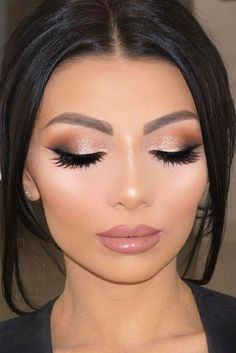 "Makeup idea for Lisa's wedding day  ❤️'s: Eyeshadow: shimmery, gold tones, & Hollywood ""red carpet"" lashes  Lips: nude/peachy/pink"