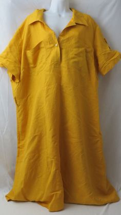 Ashley Stewart Size 24W Yellow dress 1 button 2 pocket  #AshleyStewart #Bubble #Casual